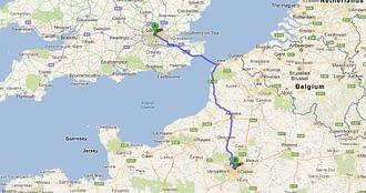 London, UK to Paris, France map