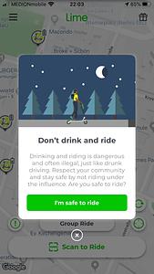 Lime drunk riding warning
