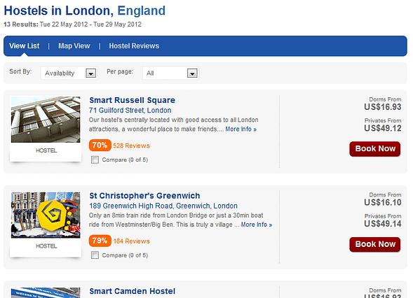 London HostelWorld Search